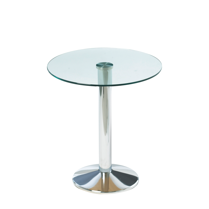 Milan Bistro Table Glass Top Chrome Base
