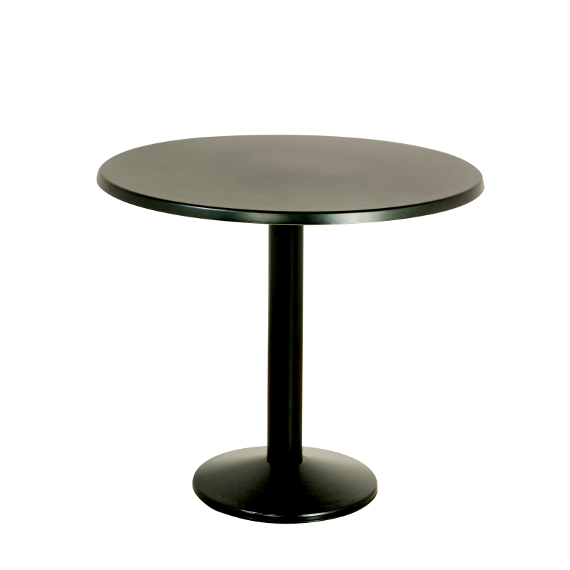 Milan Black Base Bistro Table Wooden Top