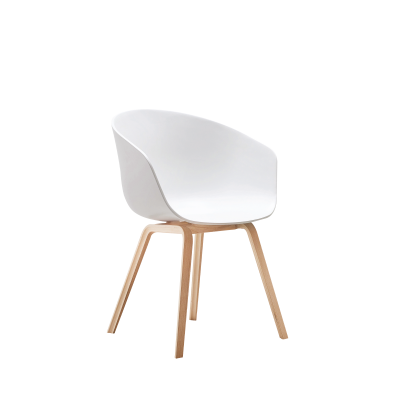 Equator Chair White Polymer Seat Wooden Legs